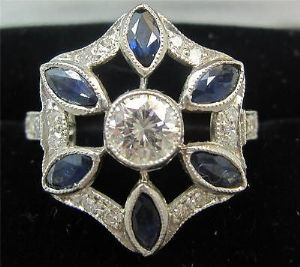 Stunning art deco sapphire and diamonds platinum unique dress ring